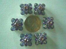 2 Hole Slider Beads Flower Purple Crystal #6