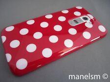 Funda Carcasa Silicona para LG G2 Roja con topos blancos