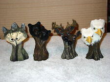 Eagle Deer Wolf And Bear Tree Trunk Set (Set Of 4)