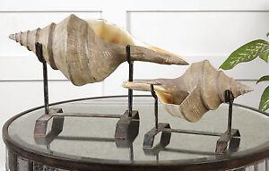 TWO COASTAL BEACH DECOR RESIN XXL CONCH SHELLS METAL STANDS UTTERMOST 19556