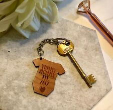Yummy Mummy Est 2019 - Baby Wood Engraved - Keyring - Key Chain Gift Mothers Day