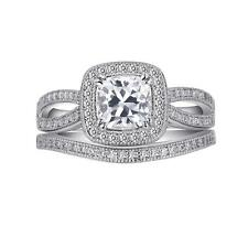 Lafonn Ster Silver Lassaire Cushion CZ Engagement & Wedding Ring Set R0013CLP