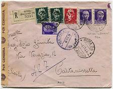 "LUOGOTENENZA, RACC. DA ROMA, NOV 1944, 6 FRANCOBOLLI ""IMPERIALI"" + CENSURA     m"