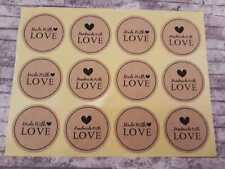120 Handmade With Love Stickers, Round 38mm Stickers, Made With Love, Thank you