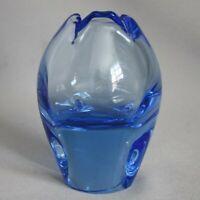 Vintage SKLO UNION CZECH Art Glass Hand Blown VASE MCM BLUE
