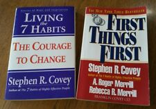 Lot of 2 Stephen Covey Books Living the 7 Habits and First Things First