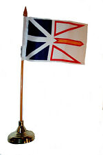 """NEWFOUNDLAND CANADA 4"""" X 6"""" Inch Stick Flag with GOLD STAND on 10"""" pole.. New"""