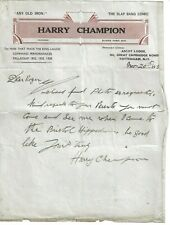 More details for harry champion. music hall singer and comedian.  signed hand written letter 1939