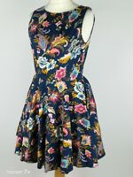 Closet Navy Blue Yellow Floral Skater Fit  And Flared Dress With Pockets Size 14