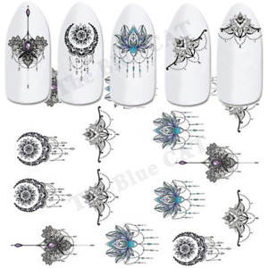 Nail Art Stickers Water Decals Transfers Black Flowers Jewels  Lace Floral