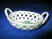 Herend Chinese Bouquet  Pattern Hand painted Porcelain Basket