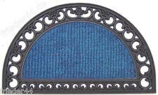 2 St. Gummi-Kokos-Matte blau Fußmatte Türmatte halbrund Gummimatte Kokos 45x75