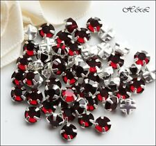 25 Swarovski ss20 Siam Dark Red Vintage Crystal Rose Montees Sew On sp 20ss