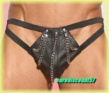 Sexy-string Noir Simili  avec Chaines  Décoratives   T M  St 827