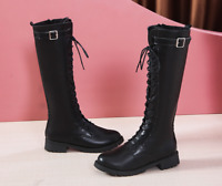 Women's Lace Up Knight Boots Thick Plus Velvet High Top Motorcycle Shoes Zsell