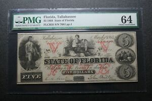 1864 Tallahassee Florida $5 Note PMG 64 - Nice example!