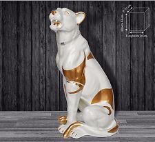 Statua scultura leopardo puma avorio oro con swarovski animal arredo casa 25110
