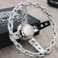 "11"" Chrome Chain Steering Wheel with Engraved Horn Button - 3 Hole"