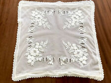 More details for antique large hand embroidered tulle floral lace cushion cover 21x21 inches