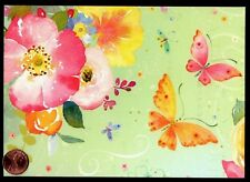 PAPYRUS Butterflies Watercolor Flowers Roses Leaves  LARGE Blank Note Card - NEW