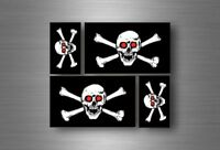 4x sticker flag car motorcycle decal bumper vinyl adhesive pirate red eyes