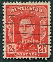 AUSTRALIA 1942 2 1/2d scarlet SG206 used NG King George VI KGVI b #W36