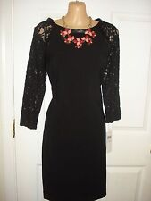 London Times Wear to Work 3/4 Sleeve With Lace Trim Black Color Shift Dress Sz 4