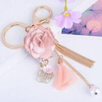 Rose Flower Keychain Crystal Bow Chain Tassel Key Ring Bag Charm Pendant Jewelry