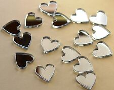 15 Mini Hearts  Mirrored Perspex Acrylic - Perfect for Crafting or Decoration