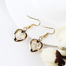 UK Seller*  Vintage Gold Crystal Heart Cubic Zirconia  Earrings Rare