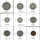 NINE+VARIOUS+OLDER+U.S.+COINS+-+CIRCULATED+-+SIX+HAVE+SILVER+CONTENT-+NICE+MIX