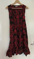 Joe Browns Red Black Patterned Floral Size 14 Sleeveless Dress Ruffle