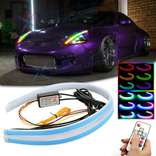 "2x RGB Flexible LED Daytime Running Light Headlight 24"" For Nissan 370Z 350Z GTR"
