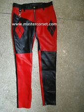 HQ  GENUINE LEATHER PANT BLACK RED Lederhose  lederen broek  Pantalon en cuir