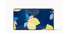 NWT Kate Spade Cameron Lemon Zest Large Slim Bifold Wallet River Blue Multicolor