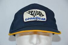 Good Year Vintage Trucker Hat Adjustable Checkered Flag Racing Navy Blue  Yellow 98737faf3083