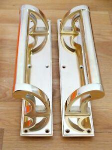 BRASS DOOR PULL HANDLES (PAIRS) ART DECO LARGE PLATES KNOBS PUSH GRAB EDWARDIAN