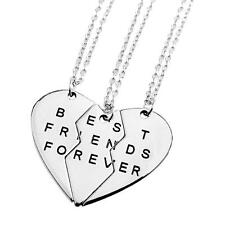 Break Heart 3-Piece Silver Best Friend Forever Friendship Pendants Necklace AD