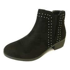 LADIES WOMENS FLAT GRIPPY SOLE ANKLE  WINTER LOW HEEL SHOES BOOTS SZ 3-8