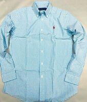 New Ralph Lauren MEN Polo Casual Dress Shirt Button Down Light Blue Checks Pony