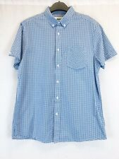 Jacamo Blue & White Gingham Checked Short Sleeve Shirt UK Size Medium
