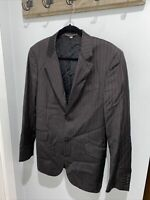 Mens BURBERRY 40R - Blazer Sports Coat Jacket Wool Two Button Striped Grey