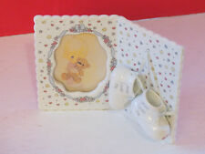 Precious Moment ~ porcelain picture frame hanging baby boy bootie jesus loves me