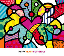 Heart Butterfly by Romero Britto Art Print Bright Happy Pop Poster 32x28