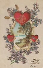 Vintage Postcard Valentine Archery Heart Arrows Lake Violets 1910 Embossed