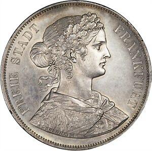 Germany (Frankfurt) 1861 2 Thaler (3-1/2 Gulden) LUSTROUS UNC