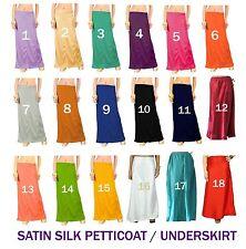 Sari Lining Underskirt Bollywood IndianSoft Satin Silk Saree Petticoat Inskirt