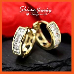 9K GOLD GF SQUARE DIAMOND LAB SOLID MENS WOMENS KIDS SMALL HOOP SLEEPER EARRINGS