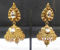 Ethnic Indian Designer Polki Jhumki Golden Kundan Bollywood Fashion Earrings Set