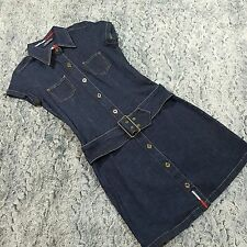 Vintage Tommy Hilfiger Womens Jean Denim Belted Midi Dress Sleeveless Size Small